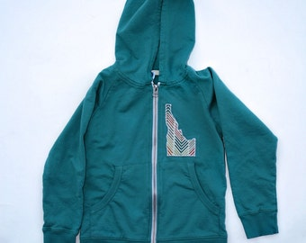 State Appliqued Hooded Sweatshirt with State of your Choice in Teal- Child Size 2 4 or 6. Eco Friendly