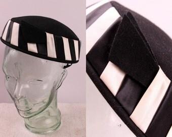 Vintage 60s - Black & White Satin Stripe - Fur Felt - Round Pillbox - Ladies Formal Hat - New Look Fascinator