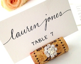 Rustic Glam Wedding Decor Place Card Holders Name Card Holder Place Cards Wedding Wine Cork Winery Wedding Wine Theme Tasting Party Sign