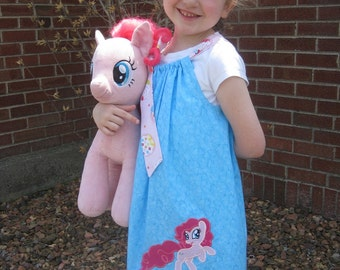 Pinkie Pie Dress, My Little Pony Dress, Turquoise, Pink Cupcakes, Pillowcase Dress, Hasbro Inspired, Size 2T to 14