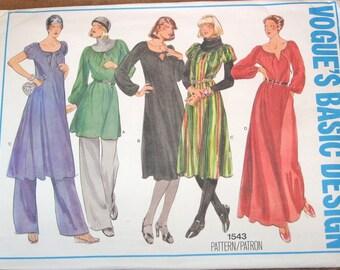 Vintage 1970s Sewing Pattern Vogue Basic Design 1543 Tunic Top Caftan Dress, Palazzo Pants Womens Misses Size 12 Bust 34 Uncut Factory Folds