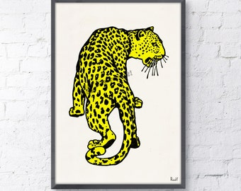 Summer Sale Wall decor Yellow Leopard- Wild Animal art print- Leopard print wall decor, Home and living yellow decor print ANI234WA4
