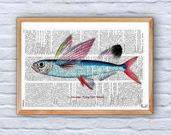 Summer Sale Hawaiian Flying Fish Print on Vintage Book page SEA070