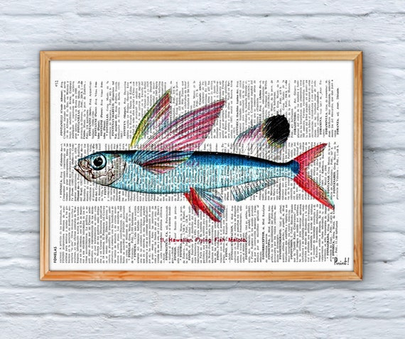 Summer Sale Hawaiian Flying Fish Print on Vintage Book page SEA070
