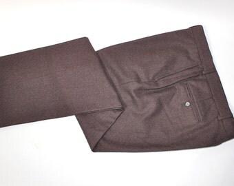 "vintage 70's -80's -Brooks Brothers- Men's '346' dress pants. 'New Old Stock'. Dark plum flannel.  Flat front - Tapered leg. 36"" Waist"