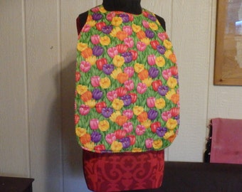 Floral Reversible Adult Bib or Special Needs / Youth Bib, Choose Tulips, Roses, Morning Glories, more
