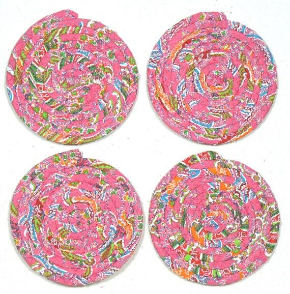 Four Drink Coasters Mug Rugs Absorbent Coasters Washable