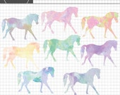 Horse Watercolor Clipart, Pony Clipart, Watercolor Graphics, Instant Download, Commercial Use
