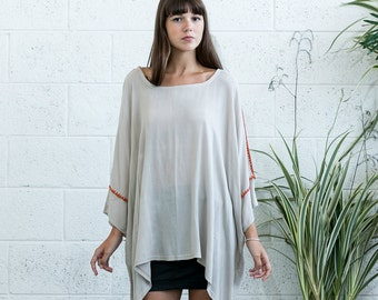 Oversized Tunic Top, Embroidered tunic top, Ivory