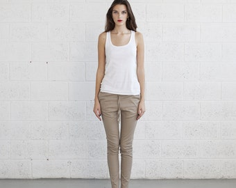 Big Summer Sale Skinny Pants,drawstring pants,ivory .