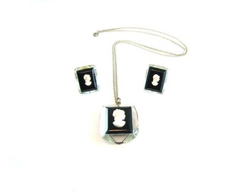 Cameo Necklace Earrings Set. Black White Lucite. Lady Silhouette.  Sterling Silver Jewelry. Vintage 1960s Retro