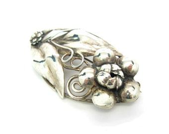 Hobé Flower Brooch. Handmade Sterling Silver Repousse Flower. Framed Flower. Wire Tendrils, Leaves. Vintage 1940s Retro Jewelry
