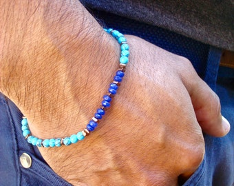 Men's Minimalist Spiritual Healing, Protection Bracelet with Semi Precious Cobalt Chalcedony, Turquoise, Hematites - David Beckham Bracelet