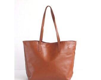 JAIMEE Tan Leather Tote bag. Brown Leather Bag. Tote Zipper Bag. Leather Hangbag. Women Handbag. School Tote Bag. School Leather CarryAll