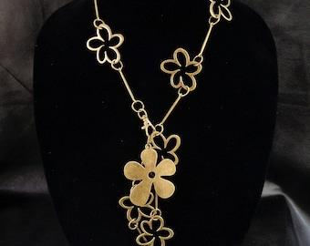 Floral statement necklace, modern asymmetric flower pendant lariat necklace, antique brass tone