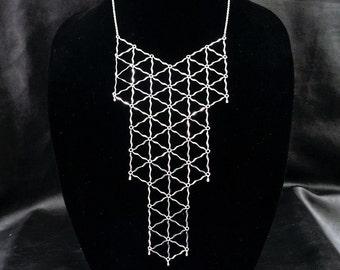 Geometric bib necklace, silver tone statement necklace, long bib necklace, modern geo jewelry