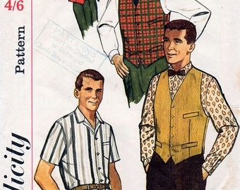 1960s Men's Shirt and Vest Pattern Simplicity 4160 Long or Short Sleeve Shirt & Reversible Waistcoat Vintage Sewing Pattern Size 38