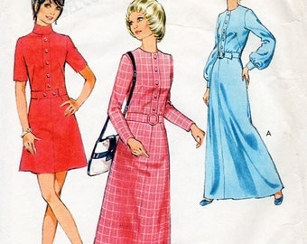 1970s Mod Dress Pattern Style 2835 Vintage Sewing Pattern A Line Mini or Midi Length Dress with Button Trim Bust 36