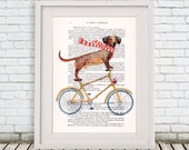 Doggy Print, Cycling Dog, Poster Illustration Acrylic Painting Animal Portrait  Decor Wall Hanging Wall Art Drawing, Dog on Bicycle