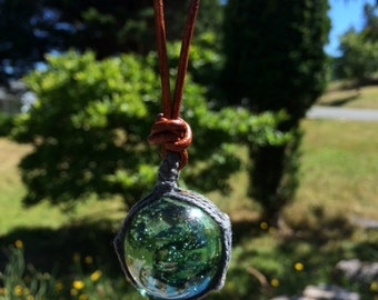 Glass Sea Buoy Necklace, Sea Buoy Necklace, Green Glass Necklace