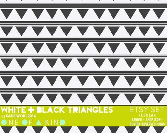 Black and White Triangles -  etsy set