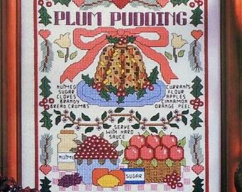 PLUM PUDDING Christmas SAMPLER - Counted Cross Stitch Pattern Chart - fam