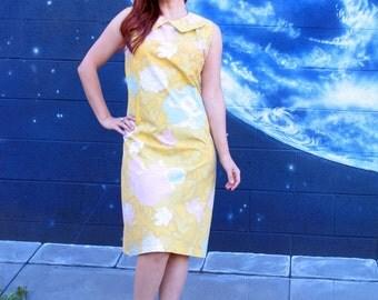 1960s 1950s Dress collar pastel floral tank Talon metal zipper vintage //  medium / large / xl