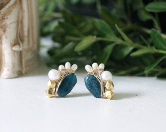 Wire wrapped earrings- Apatite & freshwater pearl cluster studs earrings - 14k gold filled