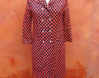 Vintage 1960s 1970s I. Magnin Co. Rain-Paka Traveler by David Smith Purple Orange Polka Dot Mod Nylon Midi Coat Jacket.