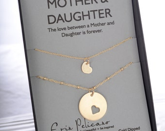Mom Daughter Necklace Set. Mother Daughter Jewelry Mother of the Bride Gift. Wedding Gift Mom Birthday Gift. Push Present. Adoption Jewelry.