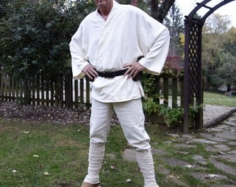 Luke Skywalker costume tunic, pants, leather belt with ammo pouches, shoes with leg wraps, adult Star Wars LARP men's size 38-44