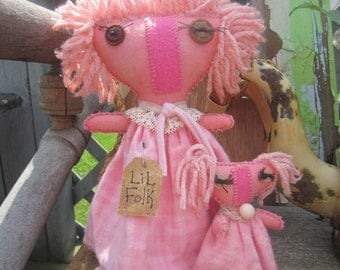 LIL FOLK DOLLS  Newly designed by thebagglady76 Hand Stitched and Pretty in Pink