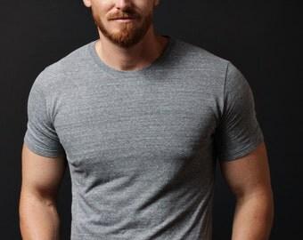 Basic Gray t-shirt - short sleeve t-shirt. Soft mens crew neck t-shirt grey. Gold WAAS logo screen print graphic - mens clothing apparel