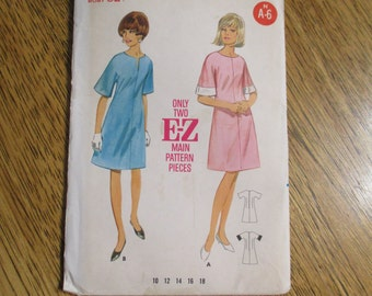 1960s MOD A-Line Dress with Wide Kimono Sleeves & Bateau Neckline - Very EASY - Choose Size 12 or 14 - VINTAGE Sewing Pattern Butterick 3992