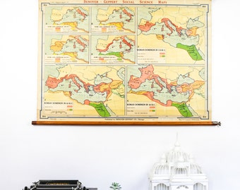 Vintage Map, Conquest of Mediterranean, Vintage Wall art