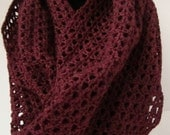 Plum Lacy Crocheted Infinity Scarf