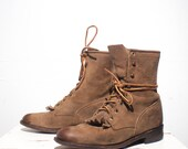6 B | Nubuck Leather Justin Roper Boot Women's Brown Lace Up Western Ankle Boot