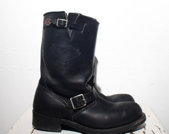 9.5 |  Men's Harley Davidson Steel Toe Engineer Boots Black Leather Motorcycle Boots