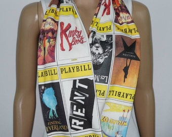 Playbill KNIT scarf (any playbill) - Infinity or Regular style - made to order