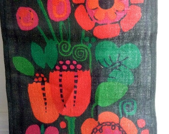70's Modern Wall hanging.  Day Glo Colors.  Flower Power.  Mid Century Modern, Pop, Panton Eames era. Vintage MOD