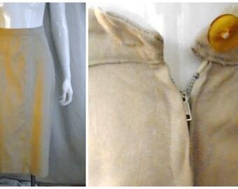 Vintage Linen Pencil Skirt 1950's Vintage Khaki Skirt Metal Side Zipper