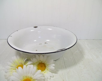 Vintage Black on White EnamelWare Metal Bowl - Vintage Round Porcelain Mixing Bowl - 12 inch Diameter Curved Kitchen Enamelware Storage Bin