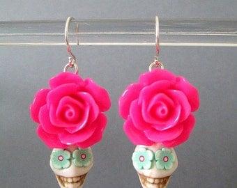 Sugar Skull Earrings ~ Day of the Dead Earrings ~ Dia de Los Muertos ~ White & Hot Pink Skull Earrings ~ Halloween ~ Calaveras ~ Tucson AZ