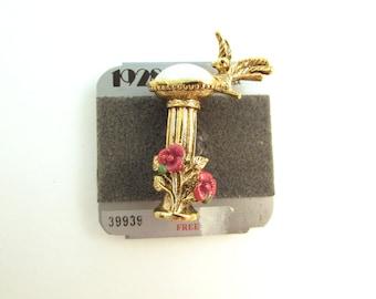 1928 Jewelry Bird Bath Brooch - Imitation Pearl with Flowers - Gold Tone Bird Pin - Spring