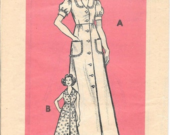 Housecoat Robe Pattern Housedress Button Front Dress 1970s Mail Order Marian Martin 9048 Size 13 Juniors 35 Bust