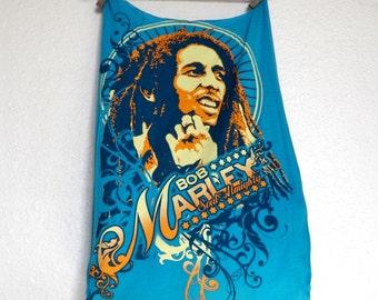 Bob Marley Reusable Grocery Bag Compact Fold Up Produce Shopping Tote ECO Friendly  Blue T-Shirt Bag w/ Pocket
