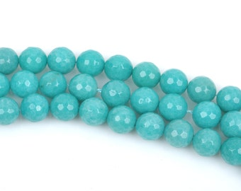4mm TURQUOISE Blue Green JADE Beads, Round Gemstone Beads, Faceted, full strand, about 90 beads, gjd0160