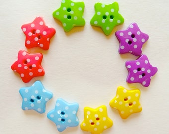 10 x 18mm Star Shaped Polka Dot Buttons
