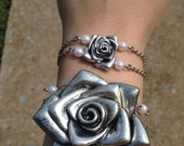 Rose Corsage bracelet set- Prom jewelry -Bridal Jewelry -Mother, sister, daughter gift