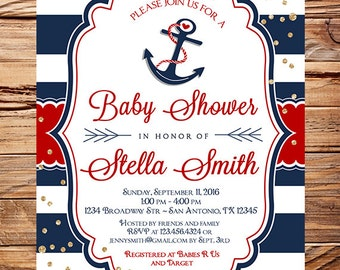 Red Anchor Baby Shower Invitation, Red Anchor Boy Shower, Boy, Girl, Red Navy, Nautical Shower, 1721